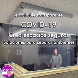 estor enrollable transparente covid 19